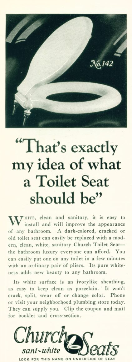Church Toilet Seats - 1927 Ad