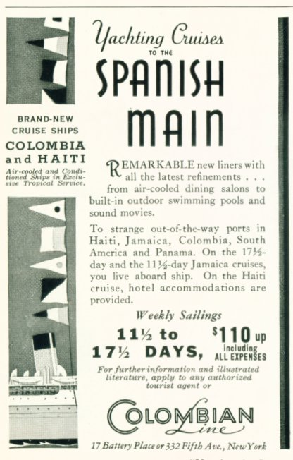 The Columbian Line - 1933 Steamship Ad
