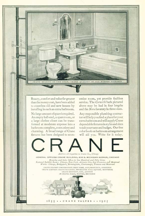 1925 ad for Crane valves and plumbing fixtures - Click on image for larger view