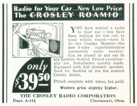 The Crosley Roamio - Radio For Your Car - 1932 Ad