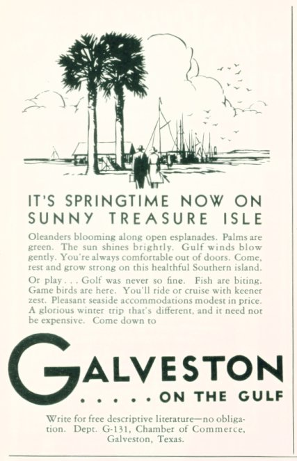 1931 Galveston, Texas Tourism Ad