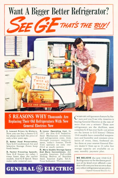 The 1940 General Electric Refrigerator - Click On Image For Larger View