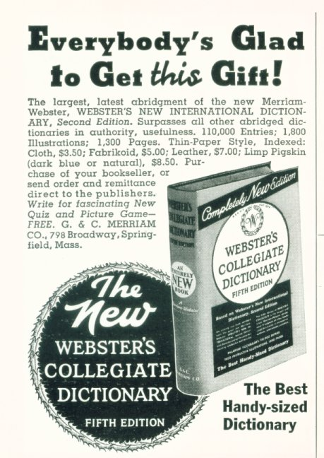 1937 Webster's Collegiate Dictionary Ad