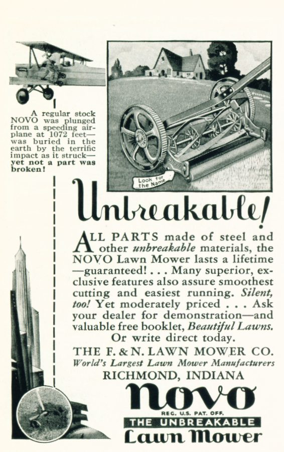 1932 Novo Lawnmower ad