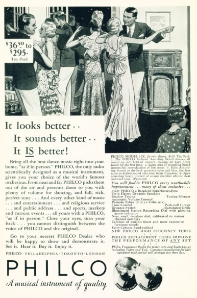 1932 Philco Radio Ad - Click On Image For Larger View