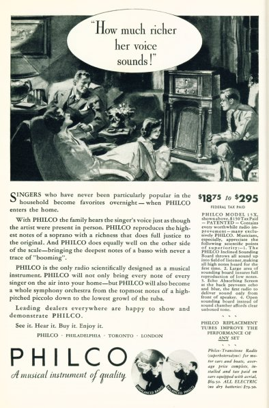 Philco Radios - 1932 Ad - Click On Image For Larger View