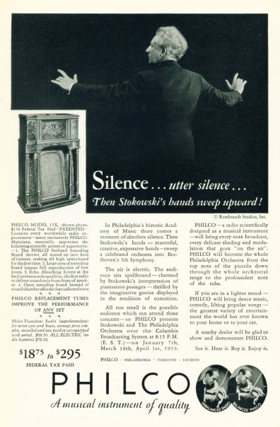 Philco Radios - 1933 Ad - Click On Image For Larger View