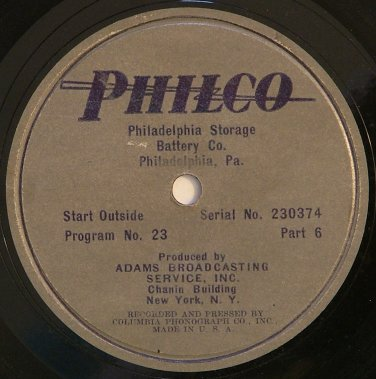 Philco Broadcast - Radio Transcription Disc