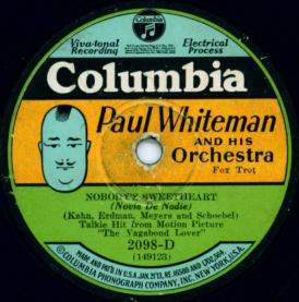 1929 Columbia record label with Paul Whiteman Potato Head caricature