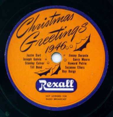 Rexall Christmas Greetings 1946 - Private Issue 78 RPM Label