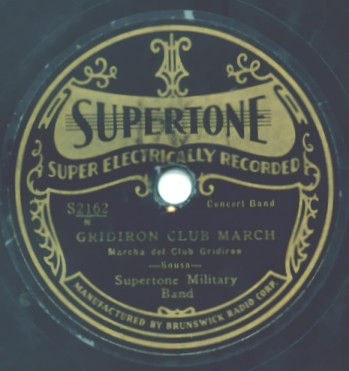 1930 Supertone Label - Gridiron Club March
