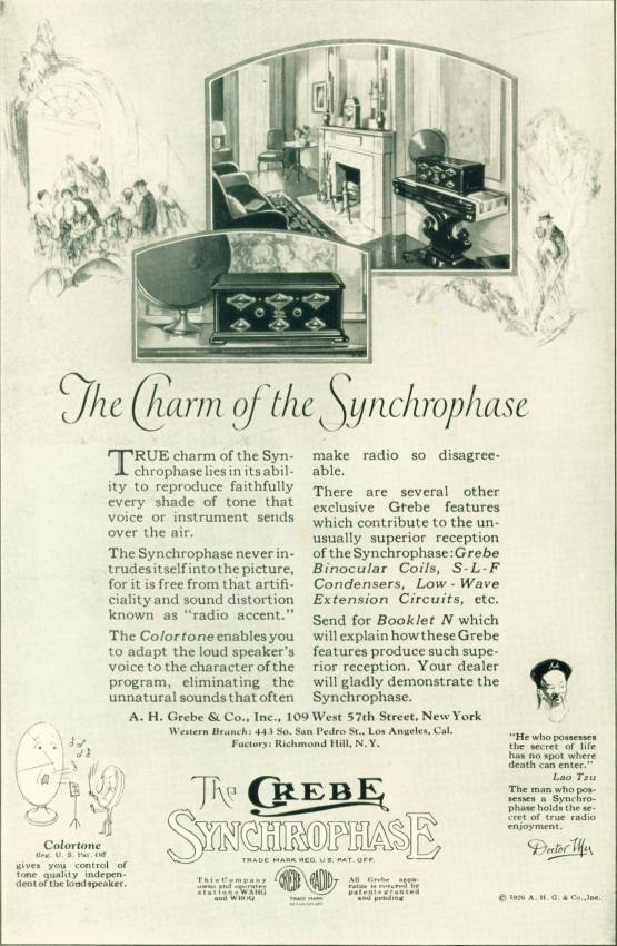 The Grebe Synchrophase Radio - 1926 Ad