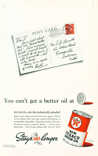 New Texaco Motor Oil - Click On Image For Larger View