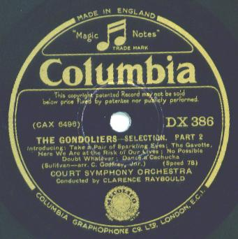1932 Columbia (UK) label - The Gondoliers Selections - Court Symphony Orchestra