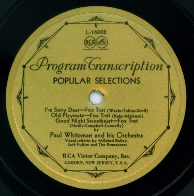1933 RCA-Victor Program Transcription label