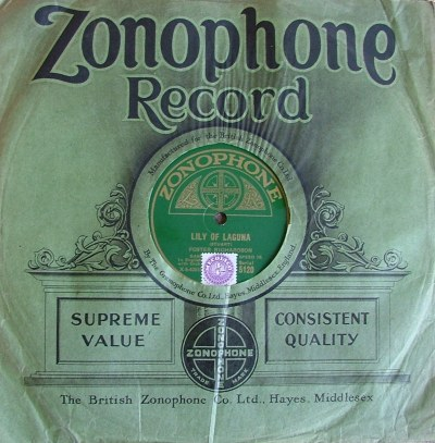 Vintage British Zonophone Record Inside Original Paper Sleeve
